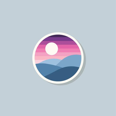 Logotipo colorido atardecer y montaña plana