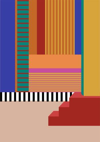 Cartel gráfico colorido geometría lineal