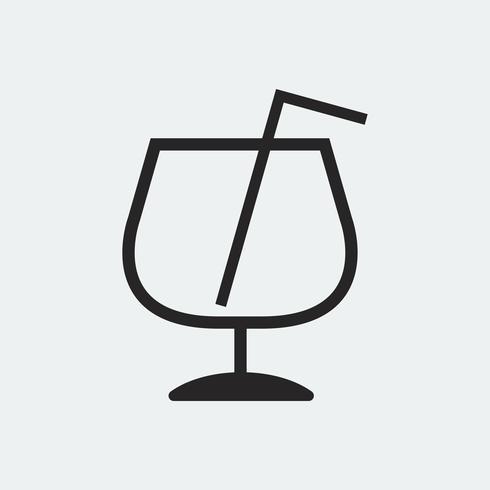 Leeres Glas mit einer Strohillustration