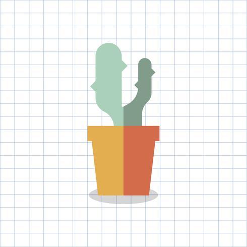 Illustration d'un cactus coloré dans un pot