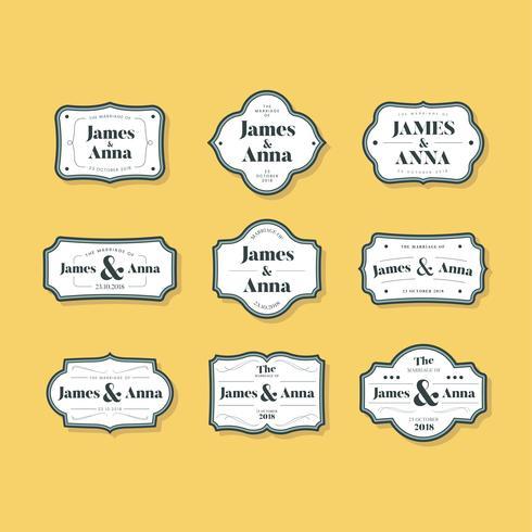 Set van klassieke stijl bruiloft uitnodiging badges