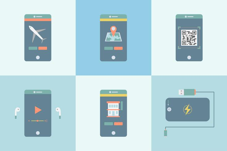 Satz verschiedene apps Grafik auf dem Mobile