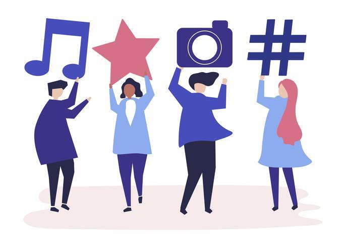 Personajes de personas con iconos de redes sociales ilustración