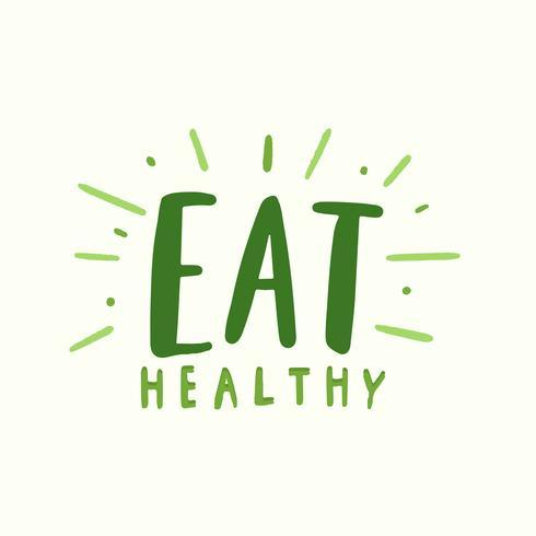 Ät hälsosam typografivektor i grön