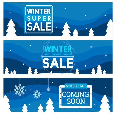 Ensemble de vecteurs de bannière de vente hiver
