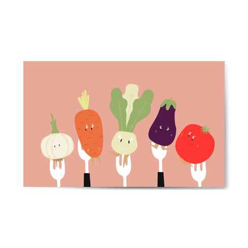 Färska grönsakertecknader på gafflar vektor