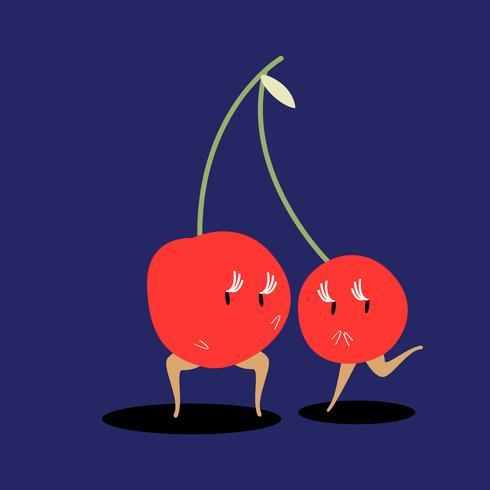 Um par de cerejas desenho vetorial