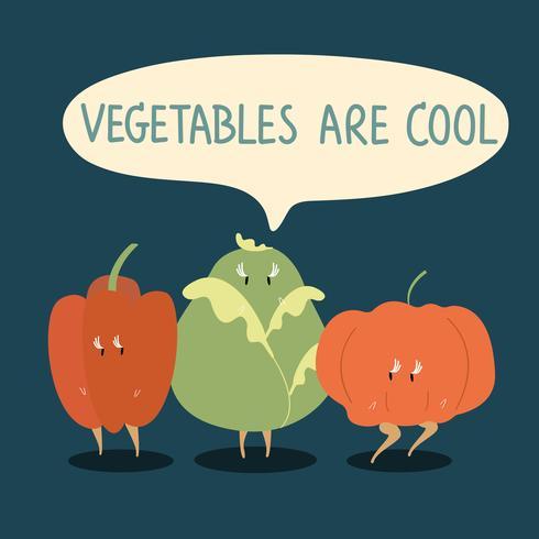 Personajes De Dibujos Animados De Verduras Frescas Set
