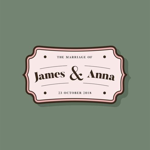 Classic style wedding invitation badge