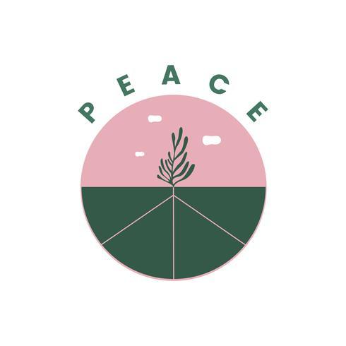 Ilustración de símbolo de la paz en la tierra