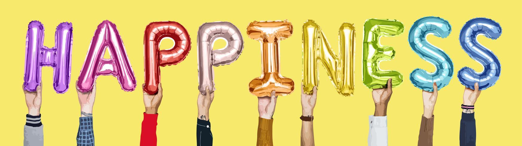 Händer som håller ordet glädje illustration