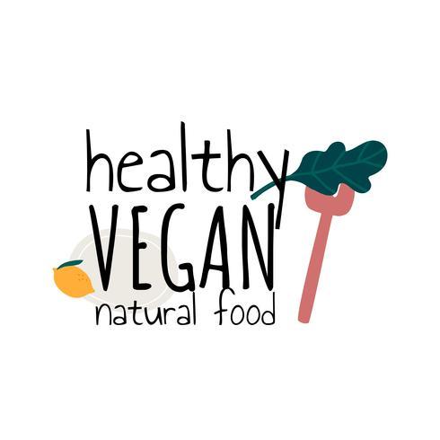 Vetor de comida natural vegan saudável
