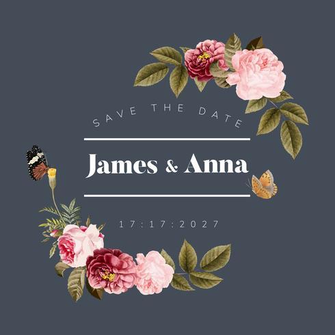 Bröllop inbjudan blommig kort illustration