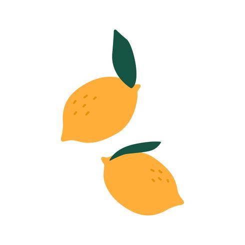 Två ljusgula citroner vektor