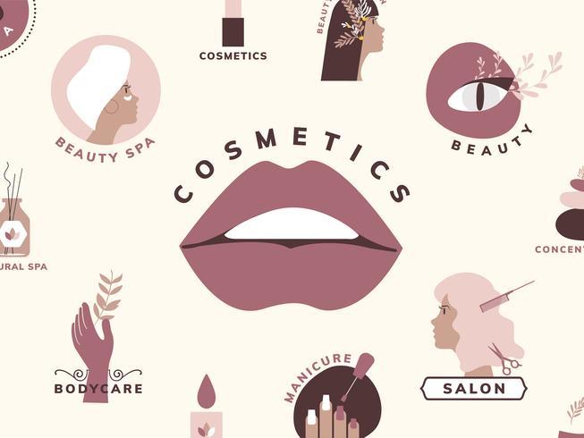 Set med skönhets- och kosmetikikoner
