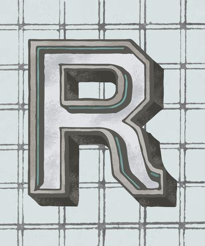 Huvudstämpel R vintage typografi stil