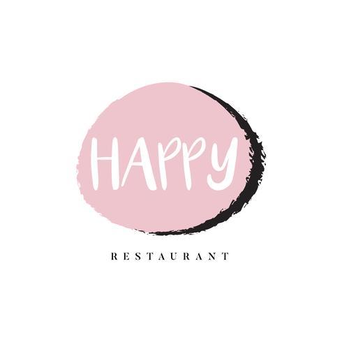 Vector de marca de logotipo de restaurante feliz