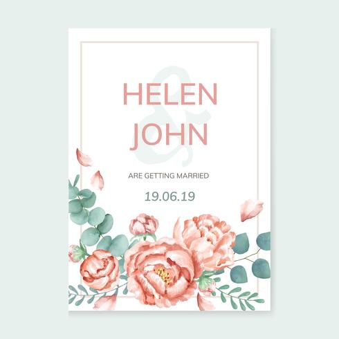 Invitation card with a floral theme