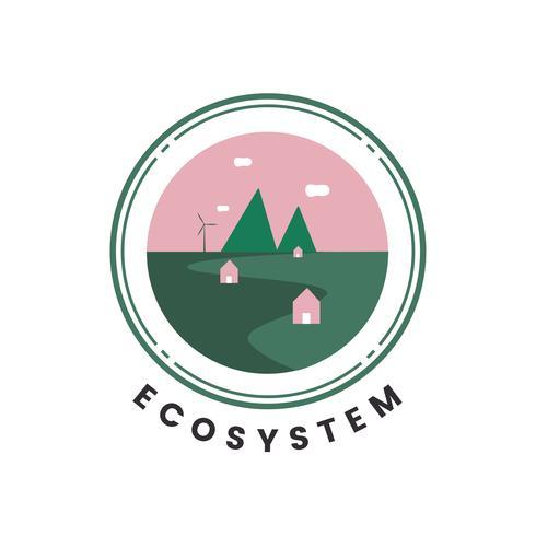 Ökosystem- und Naturikonenvektor
