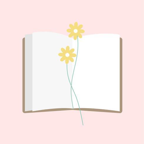 Illustration d'un bloc-notes ouvert avec une fleur