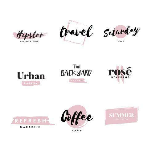 Samling av logotyper och brandingvektor