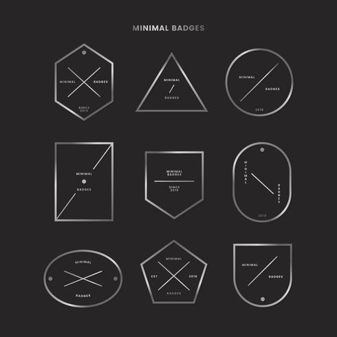 Donkere minimale badge set