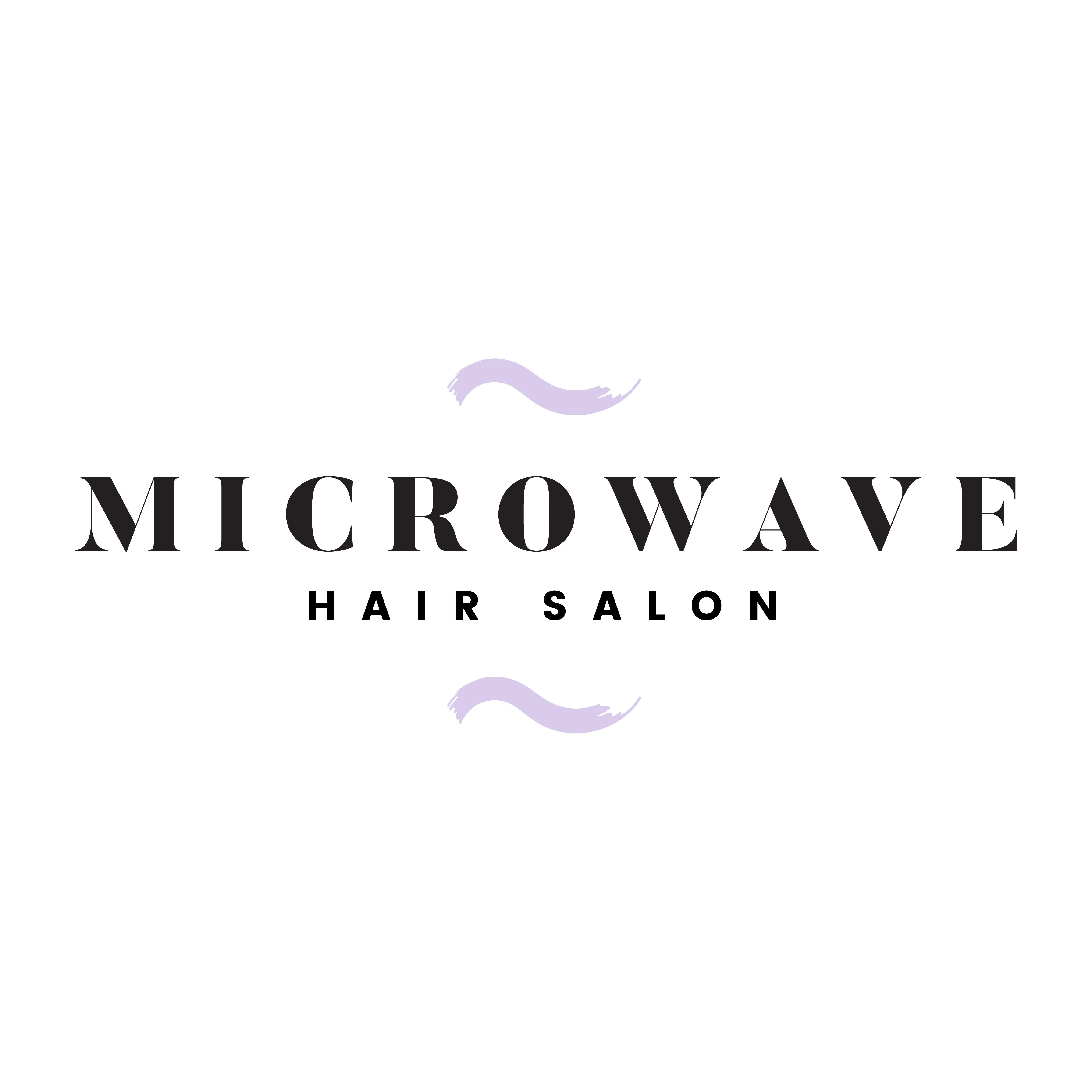 Logo With Barber Concept Design For Branding: Microwave Hair Salon Logo Vector