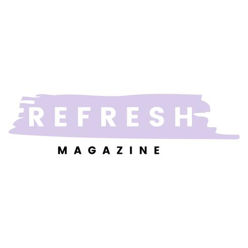 Refresh magazine logo branding vector