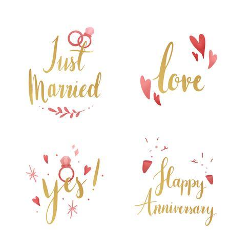 Satz Hochzeits- und Liebestypographievektoren