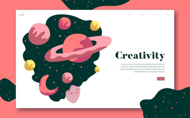 Kreativitäts- und Weltraum-Website-Grafik