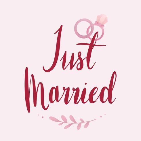 Appena sposato tipografia vettoriale in rosso