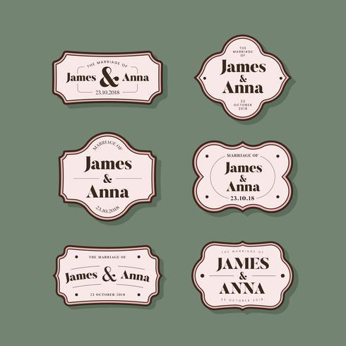 Colección de insignias de invitación de boda de estilo clásico