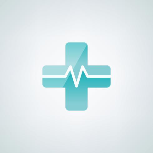 Rood kruissymbool met cardiograafvector
