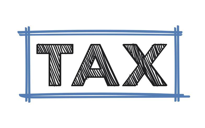De illustratie van de woordbelastingen typografie