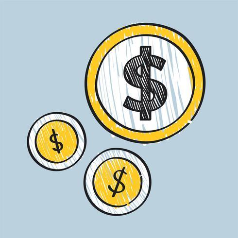 Dollarzeichen auf Münzenillustration