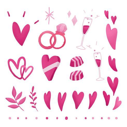 Roze valentines liefde doodle set