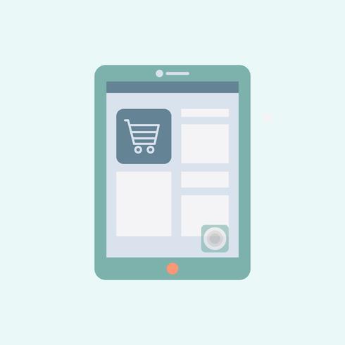 Compras en línea en un vector de tableta