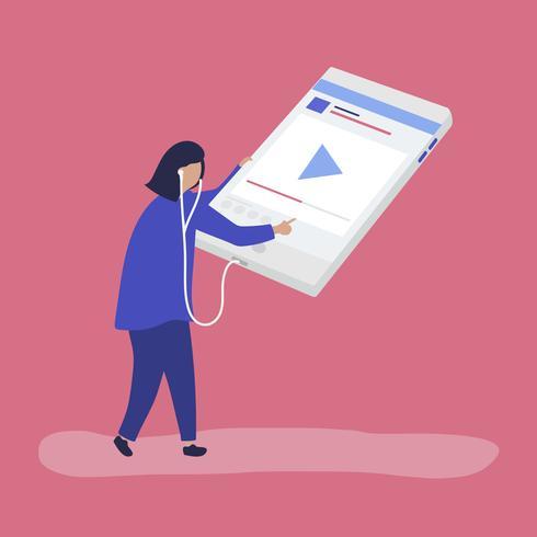 Personaje de mujer escuchando música en una tableta digital.