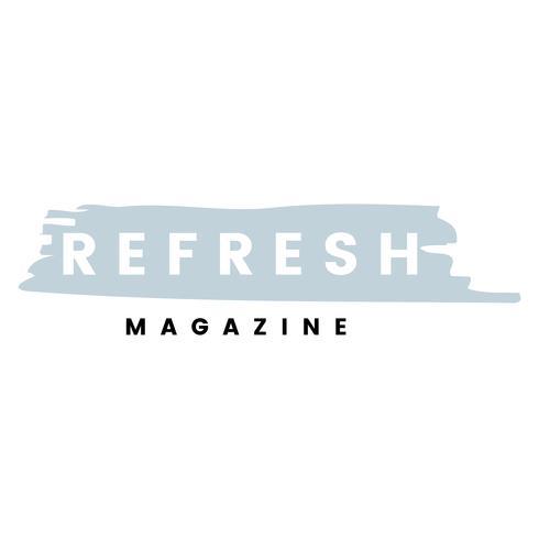Verfris de logo-brandingsvector van het tijdschrift