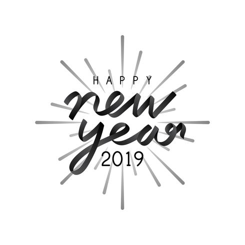 Feliz año nuevo 2019 vector de placa