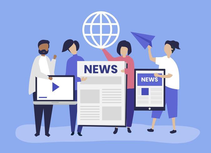 Pessoas mostrando diferentes tipos de maneiras de acessar notícias vetor
