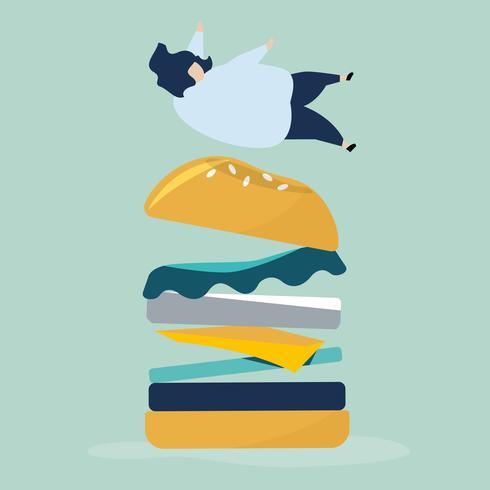 Personaje de una persona cayendo sobre una hamburguesa gigante ilustración
