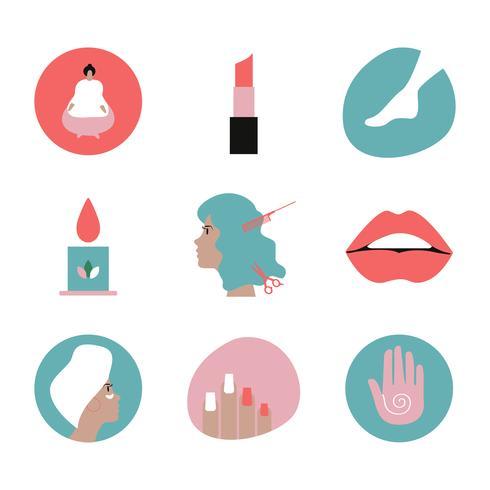 Set di icone di bellezza e cosmetici