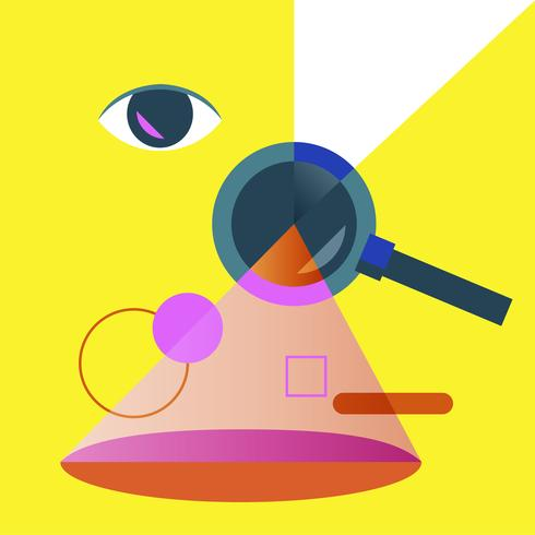 Illustration of searching magnifying glass