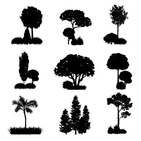 Samling av träd silhuetter vektor