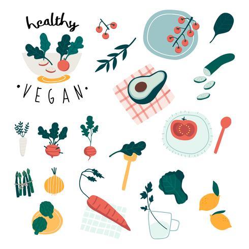 Healthy vegan food set vectors
