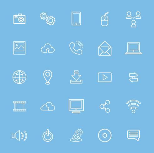 Illustration du jeu d'icônes de technologie