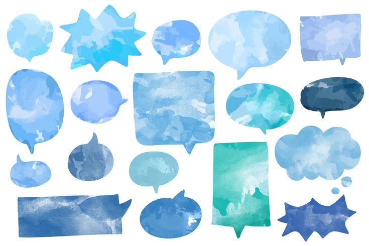 Conjunto de vetor de bolhas de discurso aquarela