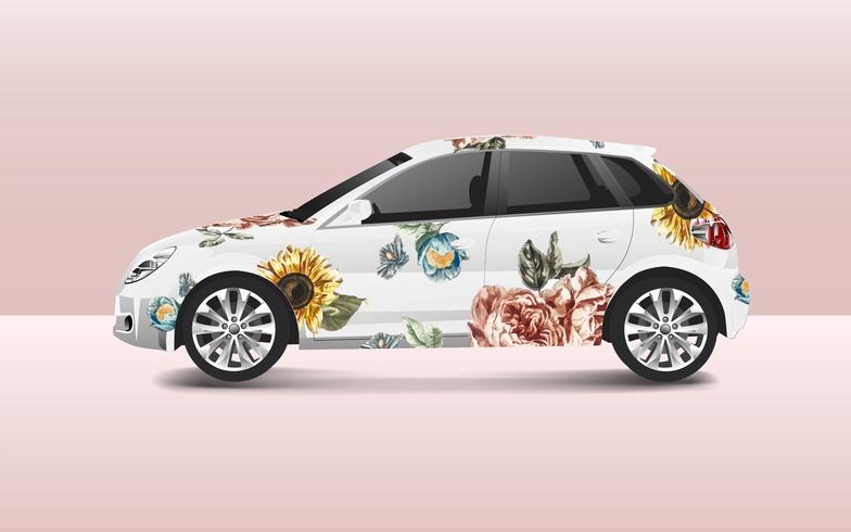 Design floral em um vetor de carro hatchback