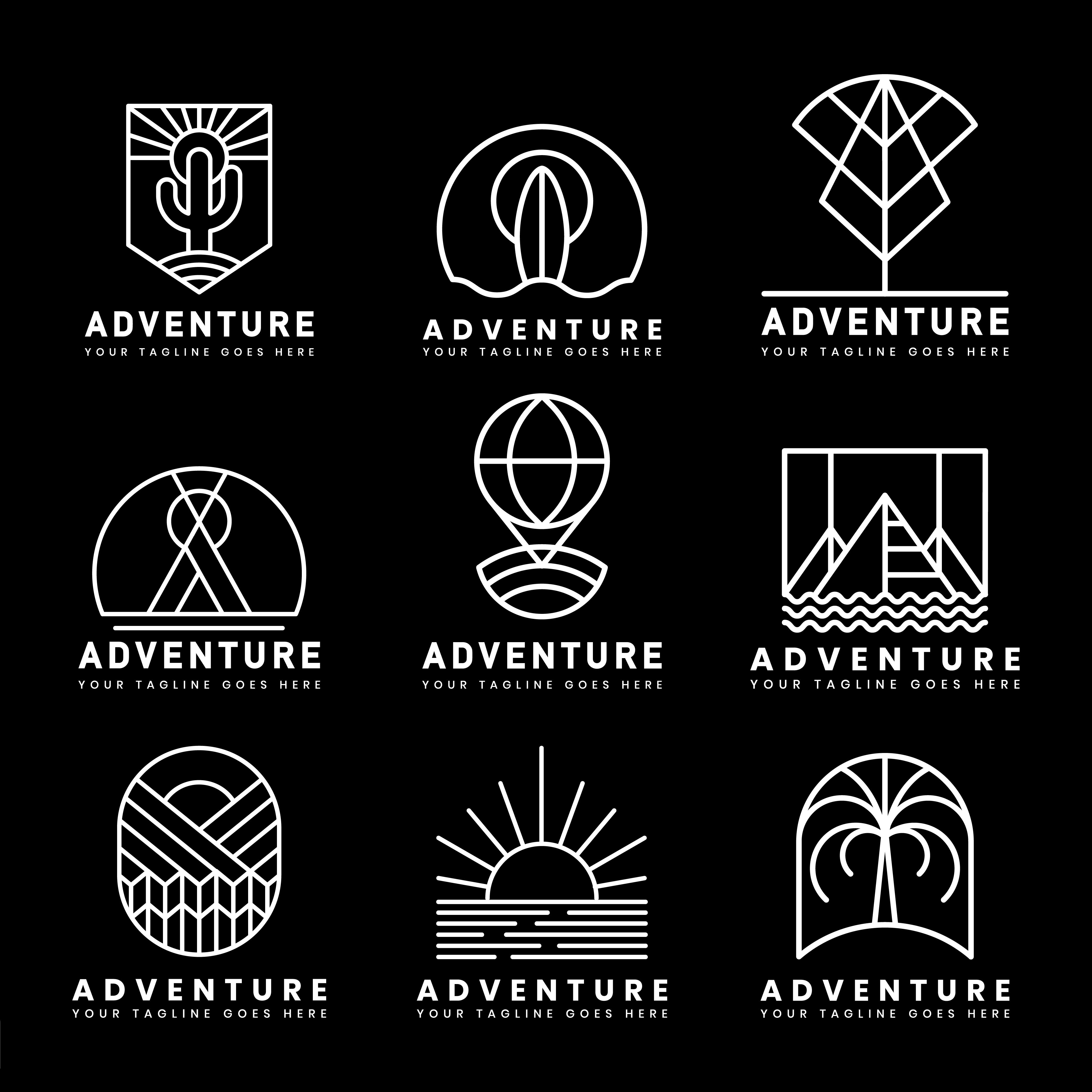 Set Of Adventure Logo Vector Download Free Vectors